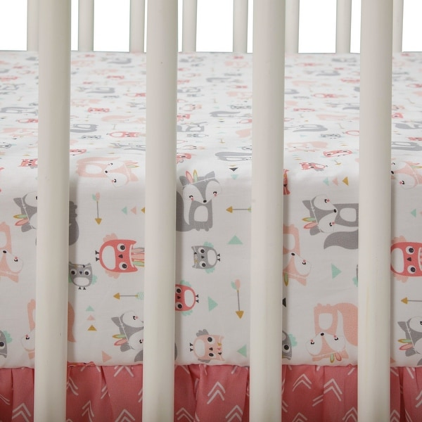 Blue White Gray Lambs /& Ivy Little Spirit 3-Piece Crib Bedding Set Coral