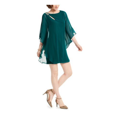 XSCAPE Womens Green Jewel Neck Mini Sheath Cocktail Dress Size 10