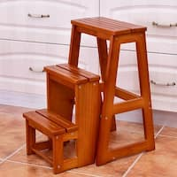 Costway Wood Step Stool Folding 3 Tier Ladder Chair Bench Seat Utility Multi-functional