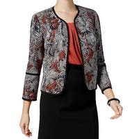 Kasper Black Cinnabar Womens Size 6 Floral Open Front Jacket