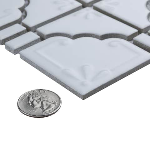 SomerTile 11.75x11.75-inch Luna Matte White Porcelain Mosaic Floor and Wall Tile