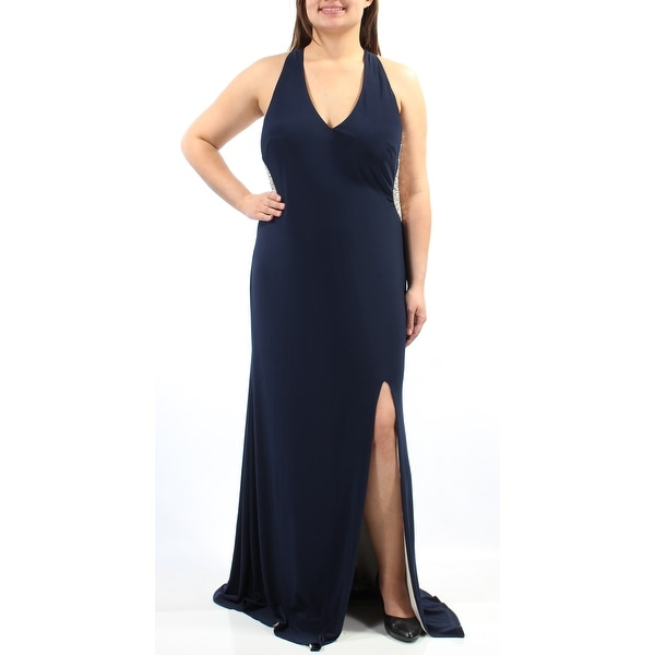 XSCAPE Womens Navy Sleeveless V Neck FullLength Sheath Evening Dress Plus  Size: 16W