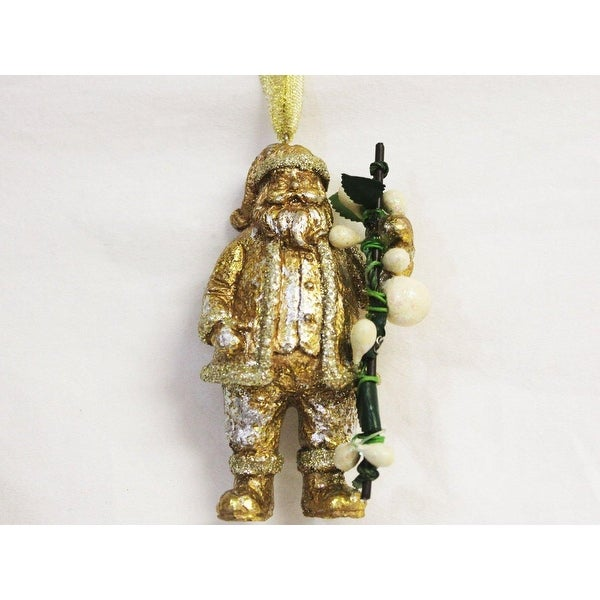"3.75"" Antique-style Gold Glitter Santa Claus with Green Mistletoe Christmas Ornament"