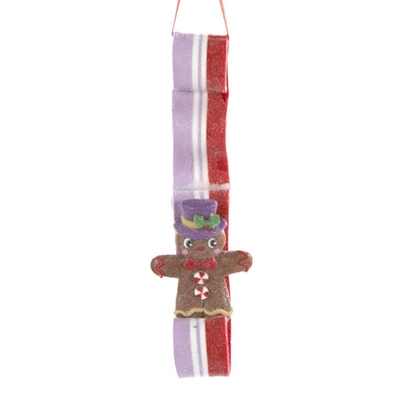 "6"" Sugar Town Gingerbread Man on Purple and Red Ribbon Candy Christmas Ornament"