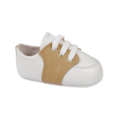 Baby Deer Boys White Tan Soft Sole Leather Saddle Oxford Shoes