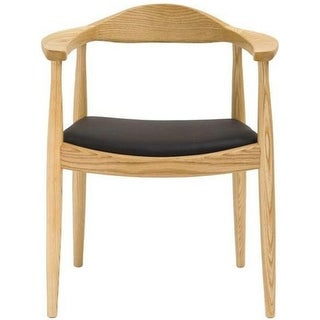 2xhome Natural Solid Real Oak Wood PU Leather Cushion Seat Kennedy Chair Armchair Dining Chair Hans Wegner Style - N/A
