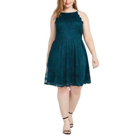 BCX Plus Women's Halter neckline Lace Fit & Flare Dress, Evergreen, 2X