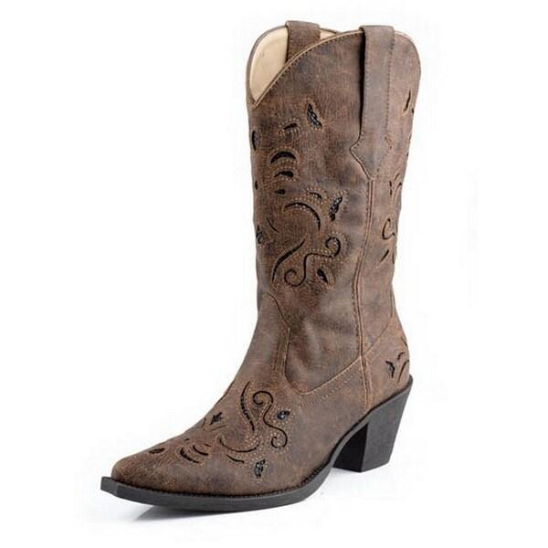 Roper Western Boots Womens Glitter Brown Black