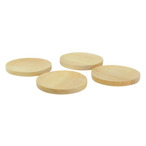 Set of 4 Wood Wine Glass Appetizer Plates, 4.5-Inches - N/A