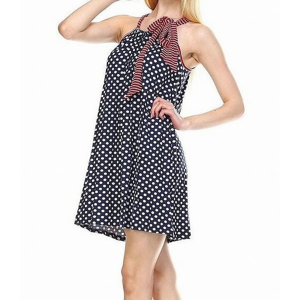 aa510684562 Shop Zoozie LA Red Women s Medium Polka-Dot Tied Shift Dress - Free  Shipping On Orders Over  45 - Overstock - 27055040