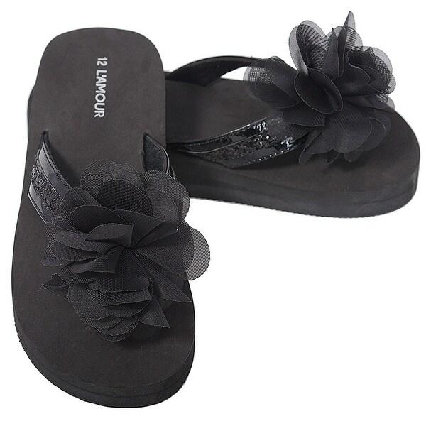 e7c5f87451 Shop L'Amour Black Sequin Strap Flower Flip Flop Sandals Little ...