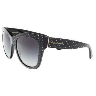 Dolce & Gabbana DG4270 31268G Pois White on Black Square Sunglasses - 55-19-140
