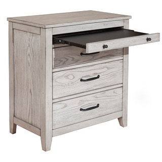 Link to Origins by Alpine Aria Wood 3 Drawer Nightstand in Light Gray Similar Items in Bedroom Furniture