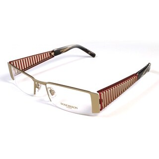 Boucheron Unisex Semi-Rectangle Eyeglasses Red/Gold - Black - S
