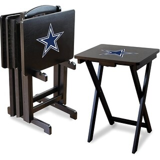 Official Licensed Dallas Cowboys NFL Football TV Snack Trays with Storage Racks (Set of 4)