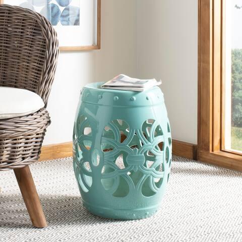 SAFAVIEH Imperial Vine Light Blue Ceramic Decorative Garden Stool