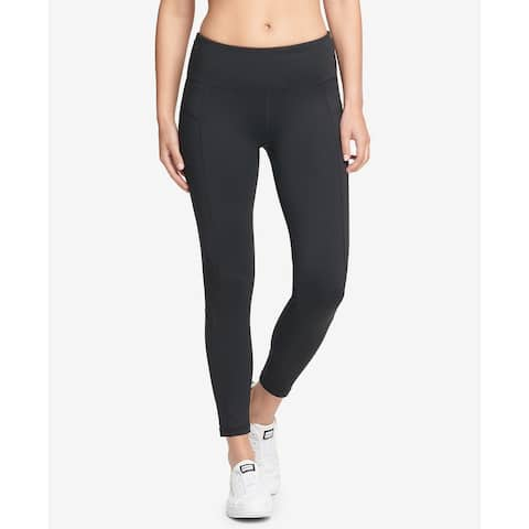 DKNY Womens Leggings Black Size Small S High-Rise Mesh-Inset Ankle