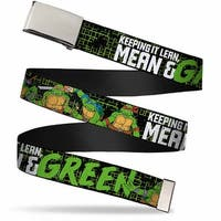 "Blank Chrome 1.0"" Buckle Classic Tmnt Group Pose6 Keeping It Lean, Mean & Web Belt 1.0"" Wide - S"