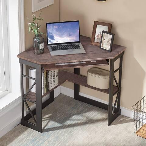 VECELO Corner Office Desk L-shaped Computer/ Gaming/ Laptop Corner Office Desk - Natural