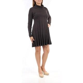 Womens Black Long Sleeve Mini Fit + Flare Casual Dress Size: L