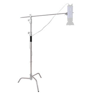 Costway 40'' Stainless Steel Silver C-stand w Grip Head Folding Legs Photography Studio