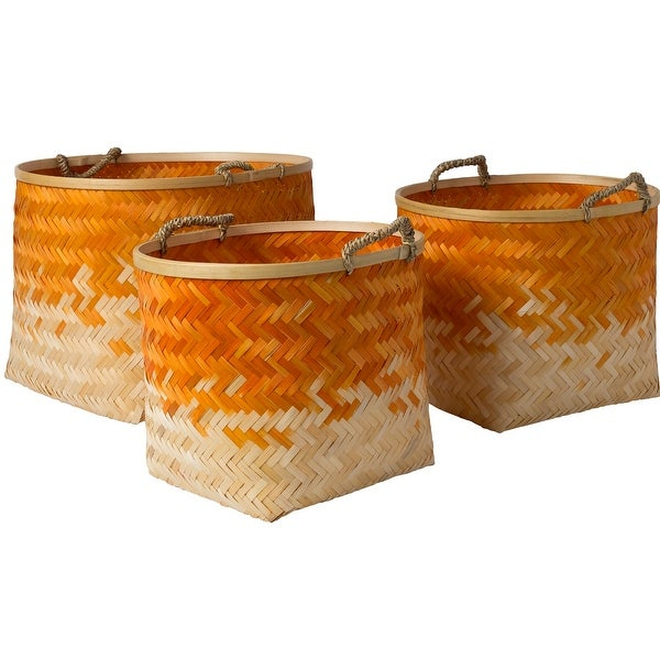 "Set of 3 Orange and Beige Weave Patterned Bamboo Basket Tabletop Decoration 18.9"" - N/A"