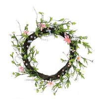 15 in. Green Pink & Purple Decorative Artificial Spring Floral Twi