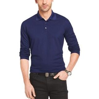 Van Heusen Big and Tall Traveler Check Long Sleeve Polo Shirt Dark Navy 3XL