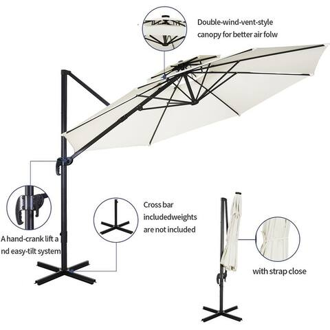 Zenova11ft Solar Patio Umbrella 360-Degree Outdoor Market Umbrella