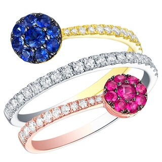 Prism Jewel 1.02CT SI2 Blue Sapphire & Pink Ruby Gemstone with G-H/I1 Natural Diamond Bypass Ring
