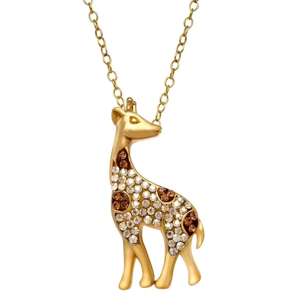 Crystaluxe Giraffe Pendant with Swarovski Crystals in 14K Gold-Plated Sterling Silver - Smokey