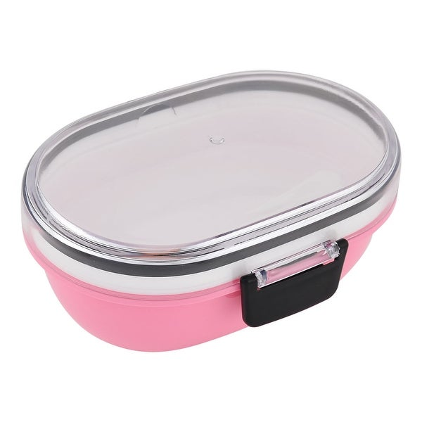 Outdoor School Office Plastic Oval Shaped 2 Layers Food Container Lunch Box  Pink