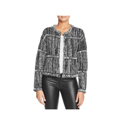 Donna Karan Womens Cardigan Sweater Fringed Collarless