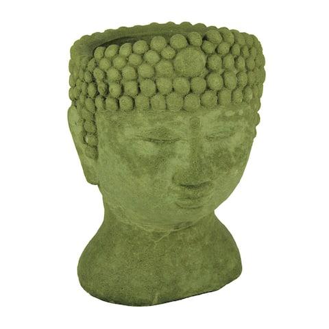 Designer Stone Mossy Green Buddha Head Concrete Planter - 13.5 X 9 X 8.5 inches