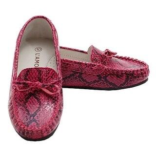 Fuchsia Faux Alligator Skin Loafer Dress Shoes Toddler Little Girl 7-4