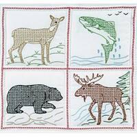 """Wilderness - Stamped White Quilt Blocks 18""""X18"""" 6/Pkg"""