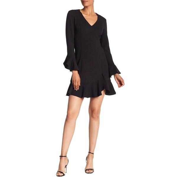 f2b71bdc803c Shop Donna Morgan Women s Bell Sleeve Ruffled Crepe Dress 8 Black ...