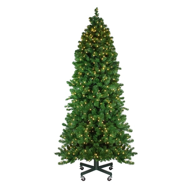 7.5' Pre-Lit Slim Olympia Pine Artificial Christmas Tree - Warm White LED Lights - green