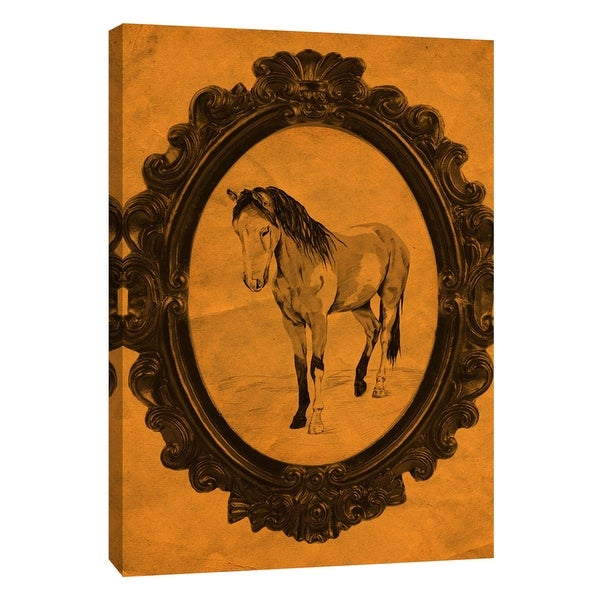 """PTM Images 9-108946 PTM Canvas Collection 10"""" x 8"""" - """"Framed Paint Horse in Tangerine"""" Giclee Horses Art Print on Canvas"""