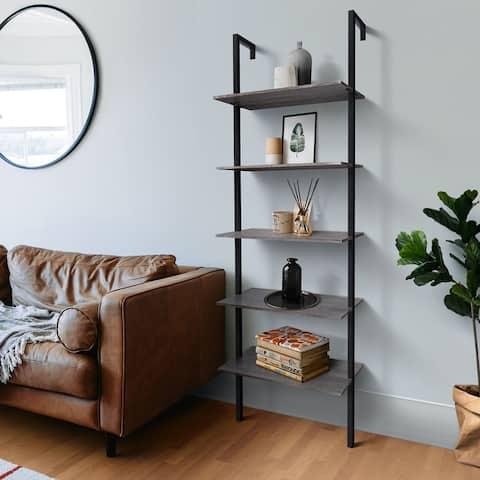 "5-Shelf Modern Bookcase Wall Mount 72"" Ladder Bookshelf - N/A"