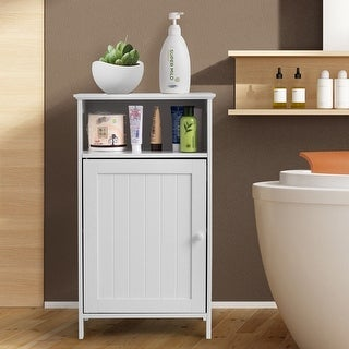 Gymax Bathroom Floor Storage Cabinet Side Table Adjustable Shelf Organize Freestanding
