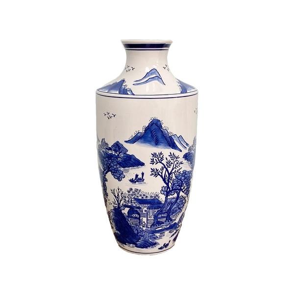 "Claybarn Blue Garden Ceramic 16"" Mountain Landscape Vase. Opens flyout."