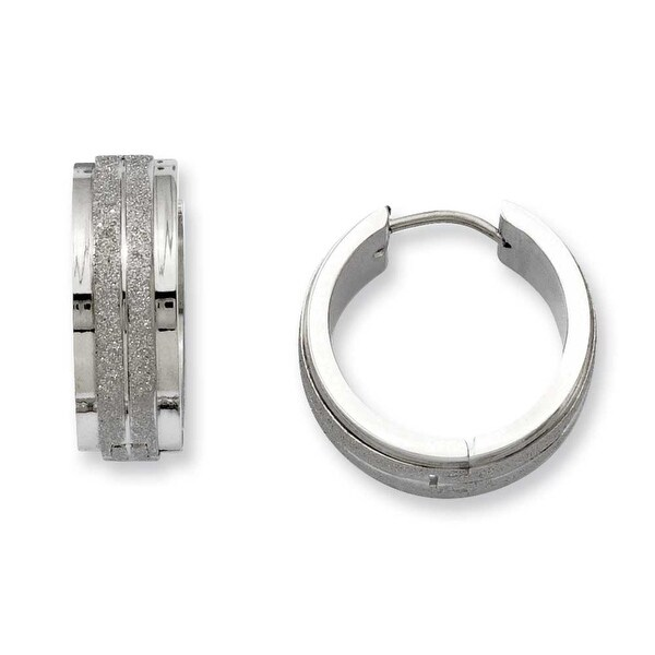 Stainless Steel Polished & Laser Cut Hinged Hoop Earrings