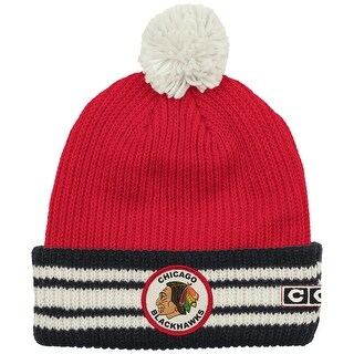 Chicago Blackhawks Watch Cap Cuffed Knit Hat with Pom