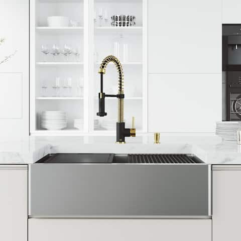 VIGO Stainless Steel Kitchen Sink with Faucet in Matte Gold and Black