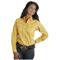 Roper Western Shirt Womens L/S Snap Solid Yellow