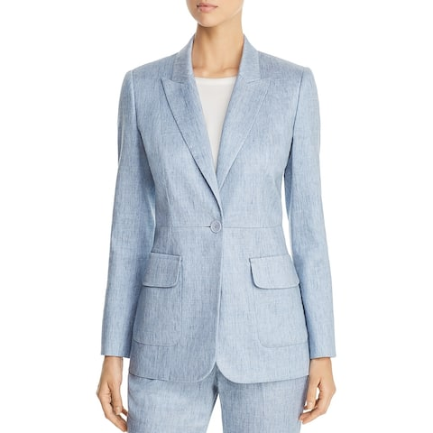 Elie Tahari Womens Jacket Sky Blue Size 12 Single Button Chambray
