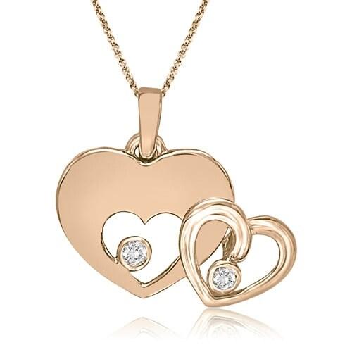 0.20 cttw. 14K Rose Gold Round Cut Double Heart Shape Pendant
