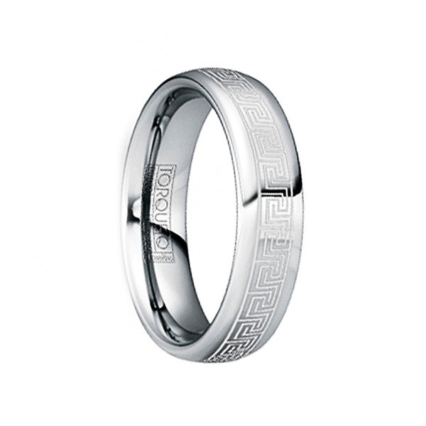 LAURENTINUS Polished Tungsten Ring with White Engraved Greek Key Motif by Crown Ring - 6mm
