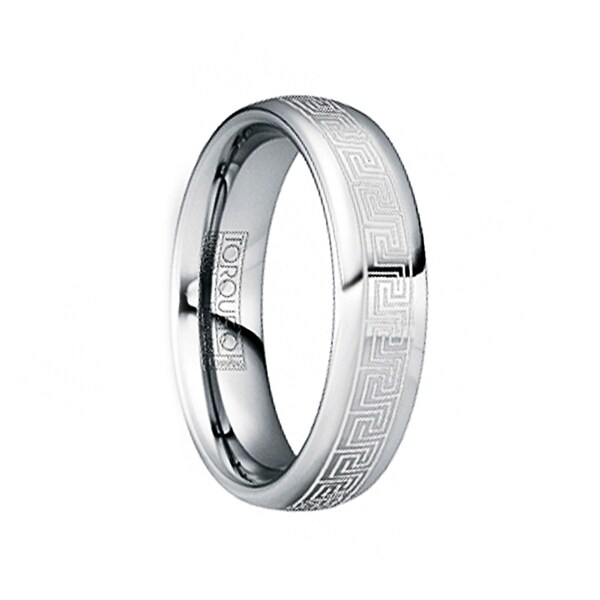 LAURENTINUS Polished Tungsten Ring with White Engraved Greek Key Motif by Crown Ring
